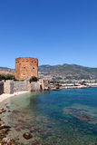 Turkey, Alanya - red tower and harbor Royalty Free Stock Image