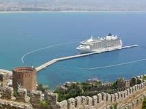 Turkey, Alanya - red tower and harbor Royalty Free Stock Photo