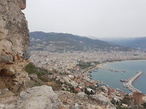 Turkey Alanya thrkey antalya marina sea winter holiday top mountain view Stock Photos