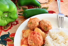 Turkey Albondigas with vegetables and rice Stock Image
