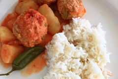 Turkey Albondigas with vegetables and rice Stock Images