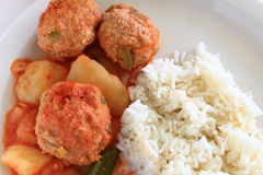 Turkey Albondigas with vegetables and rice Stock Photos