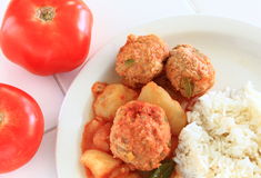 Turkey Albondigas with vegetables and rice Royalty Free Stock Photography