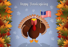 Turkey with American flag for Thanksgiving Royalty Free Stock Photos