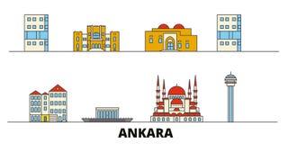 Turkey, Ankara flat landmarks vector illustration. Turkey, Ankara line city with famous travel sights, skyline, design. Turkey, Ankara flat landmarks vector royalty free illustration