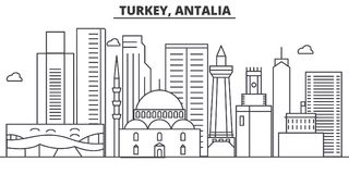 Turkey, Antalia architecture line skyline illustration. Linear vector cityscape with famous landmarks, city sights. Design icons. Editable strokes Royalty Free Stock Image