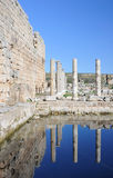 Turkey. Antalya. Ancient Greek-Roman town of Perge. Turkey. Antalya. Ancient Greek - Roman town of Perge. Ruins and columns, reflecting in the pond Stock Images