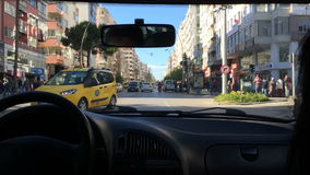 Turkey, Antalya - March 2016: A car is at a crossroads. The view from the passenger compartment, in March 2016, Antalya, Turkey. A car is at a crossroads. The stock video