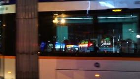 Turkey, Antalya - March 20, 2016: Public transport tram system in the evening, March 20, 2016, Antalya, Turkey. Public transport tram system in the evening in stock footage