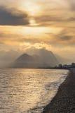 Turkey. Antalya. Mediterranean sea. Sunset. View on the beach and mountains Royalty Free Stock Photos