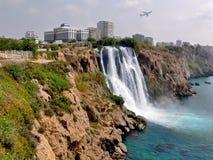 Turkey, Antalya, seashore. Waterfall. Waterfall on the Mediterranean Sea. The eastern part of the city of Antalya in Turkey Royalty Free Stock Photos