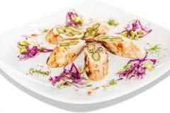 Turkey and Asparagus Rolls Stock Photo