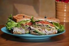 Turkey Avocado Sandwich On Wheat Royalty Free Stock Photography