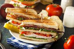 Turkey and Bacon Club Sandwich Royalty Free Stock Images