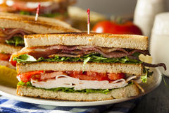 Turkey and Bacon Club Sandwich Stock Photo