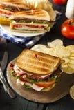 Turkey and Bacon Club Sandwich Stock Image