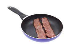 Turkey bacon in skillet Stock Images
