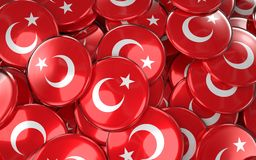 Turkey Badges Background - Pile of Turkish Flag Buttons. 3D Rendering Royalty Free Stock Photos