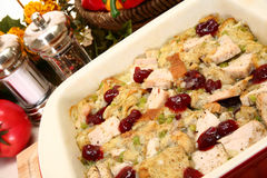 Turkey Bake. With cranberry, celery, onion, gravy and bread royalty free stock image