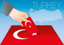 Turkey ballot box vote with flag and symbols Royalty Free Stock Images