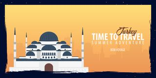 Turkey banner. Time to Travel. Journey, trip and vacation. Vector flat illustration. Turkey banner. Time to Travel. Journey, trip and vacation. Vector flat Stock Images