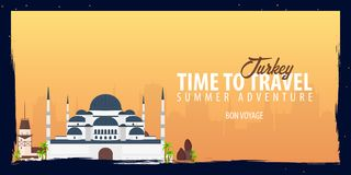Turkey banner. Time to Travel. Journey, trip and vacation. Vector flat illustration. Turkey banner. Time to Travel. Journey, trip and vacation. Vector flat Stock Photo
