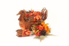 Turkey Basket with Cinnamon Stick. Napkin Holders with flowers, cones and fall colors, isolated on white Royalty Free Stock Images