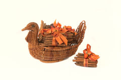 Turkey Basket with Cinnamon Stick. Napkin Holders with flowers, cones and fall colors, isolated on white Stock Photography