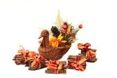 Turkey Basket with Cinnamon Stick Stock Photos