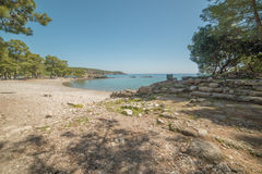 Turkey: beach next to ancient city of Phaselis Royalty Free Stock Image