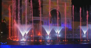 Turkey, Belek - 2017 October 4: Beautiful fountain in Land of Legends theme park. Turkey, Belek - 2017 October 4: A record-setting fountain system set in Land of stock video