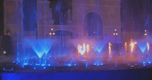 Turkey, Belek - 2017 October 4: Beautiful fountain in Land of Legends theme park. Turkey, Belek - 2017 October 4: A record-setting fountain system set in Land of stock footage