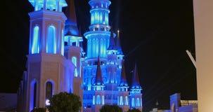 Turkey, Belek - 2017 October 4: Beautiful castle in Land of Legends theme park. Turkey, Belek - 2017 October 4: Beautiful illuminated fairy castle in Land of stock video footage