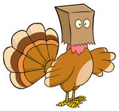 Turkey Bird Cartoon Character Hiding Under A Bag Stock Photos
