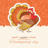Turkey bird decor background for Thanksgiving day card. Beautiful Turkey for Thanksgiving day card.Vector decor holiday background with text Stock Photos