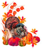 Turkey bird with harvest. Royalty Free Stock Photos