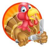 Turkey Bird Holding Kife and Fork stock illustration