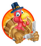 Turkey Bird in Pilgrims Hat Holding Knife and Fork Stock Photos