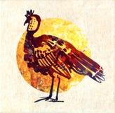Bird turkey on an orange. Turkey bird standing on an orange backgroundin a profile Stock Photography