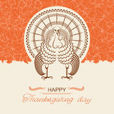 Turkey bird for Thanksgiving day card Royalty Free Stock Images