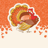 Turkey bird for Thanksgiving day holiday card for text or design Royalty Free Stock Image