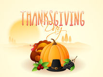 Turkey Bird, vegetables and hat for Thanksgiving Day celebration Royalty Free Stock Photography