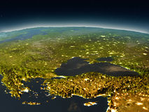 Turkey and Black sea region from space in the evening. Turkey and Black sea region in the evening from Earth's orbit in space. 3D illustration with detailed Royalty Free Stock Photo