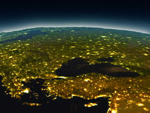 Turkey and Black sea region from space in the evening. Turkey and Black sea region in the evening from Earth's orbit in space. 3D illustration with detailed Stock Image