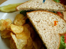 Turkey BLT Sandwich. With Potato Chips at Diner Royalty Free Stock Photo