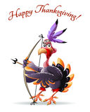 Turkey with bow thankgiving  greeting card Stock Photography