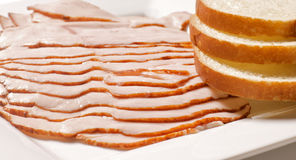 Turkey breast and bread. Oven roasted turkey breast slices Stock Images