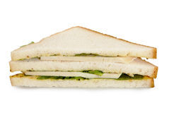 Turkey breast club sandwich. On white background Royalty Free Stock Photo