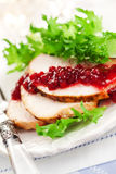 Turkey breast with cranberry sauce Royalty Free Stock Photos