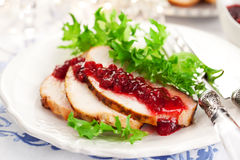Turkey breast with cranberry sauce Royalty Free Stock Images
